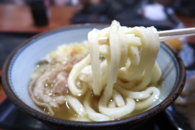 四国中央市「手打ちうどん 菜の家」のもちもちとしたうどんを箸上げ