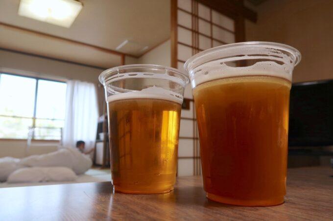 愛媛県今治市大三島「大三島ブリュワリー」でテイクアウトしたビールを旅館に持ち帰っていただいた