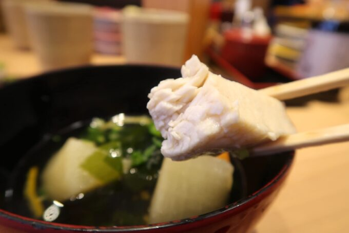 愛媛・宇和島「すしえもん」漁師汁にも脂乗りのよい魚が入っていた