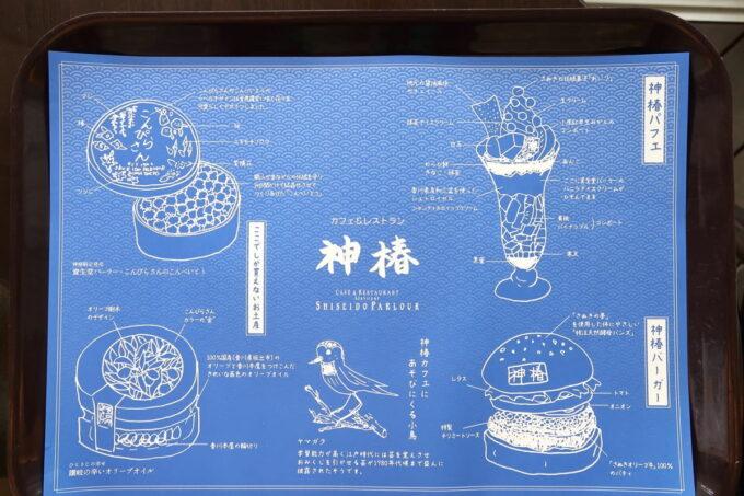 琴平町「神椿」お盆に敷かれたトレイマットもゆっくり読みたい。