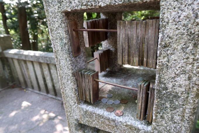香川・金刀比羅宮の百度石にはそろばんのような札がついていた