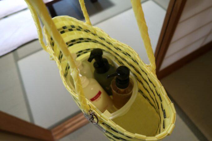 今治・大三島「旅館さわき」近くの温泉に行く時はシャンプーなどのセットを貸してもらえた