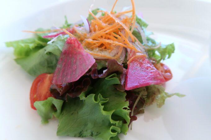 糸満「サザンビーチホテル&リゾート沖縄」サザンテラスのセレクトランチ、糸満産野菜のガーデンサラダ シャロットドレッシング
