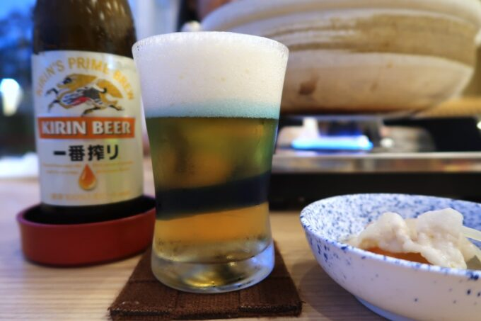 カヌチャリゾート「和食レストラン 神着(かぬちゃ)」鍋にはキリン一番搾りが合う気がする
