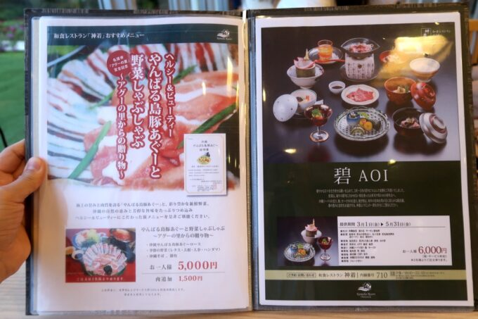カヌチャリゾート「和食レストラン 神着(かぬちゃ)」この日いただいたメニュー