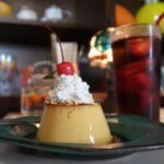 北中城村「ニュー・キタナカ」トラディショナルプリン(450円)とドリップのアイスコーヒー(540円)